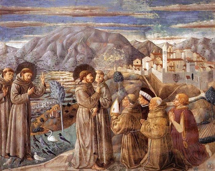 Le prêche aux oiseaux et la bénédiction de Montefalco