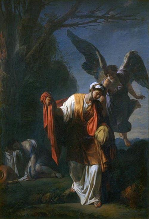 L'ange, comme en retrait